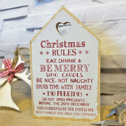 40% OFF Wooden Christmas Rules Chunky Block Sign